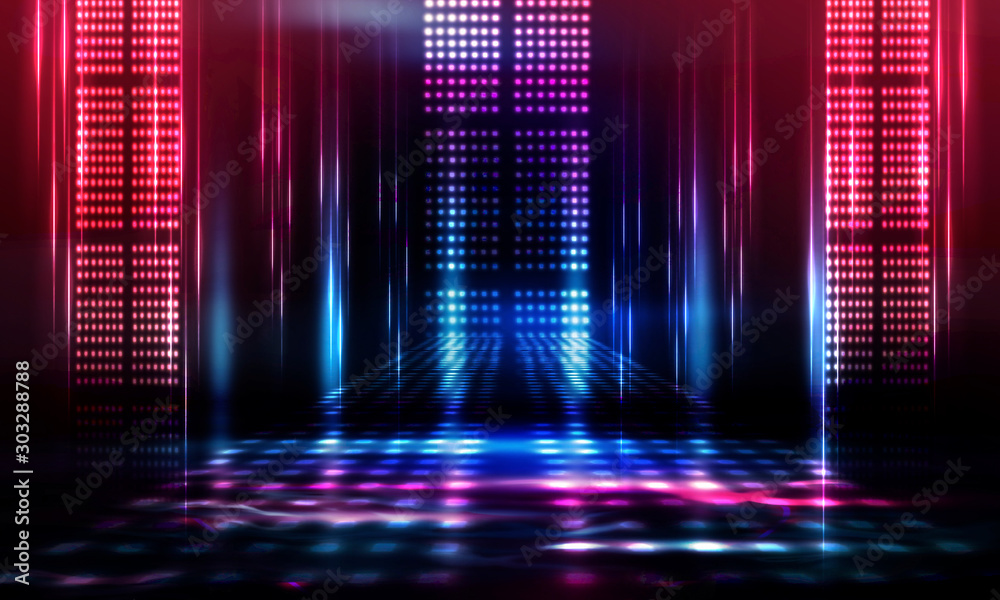 Fototapeta Background of empty show scene. Empty dark modern abstract neon background. Glow of neon lights on an empty stage, diodes, rays and lines. Lights of the night city.