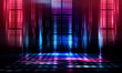 canvas print picture Background of empty show scene. Empty dark modern abstract neon background. Glow of neon lights on an empty stage, diodes, rays and lines. Lights of the night city.