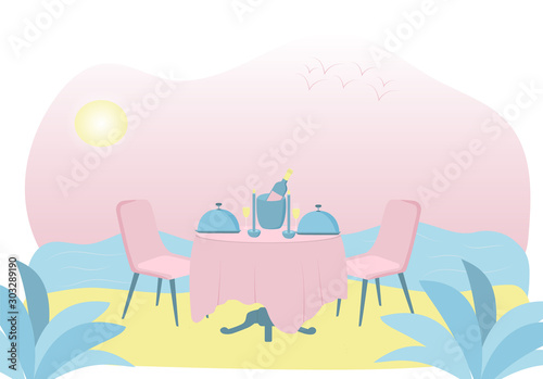 Flat illustration of romantic dinner on the beach. No one.