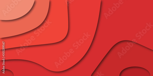 Fotomural  Red abstract background - modern concept of paper art style, vector