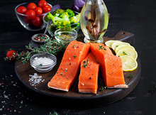 Raw Salmon Fillet And Ingredie...