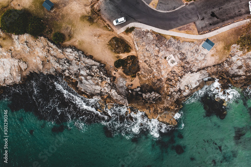 Drone photo of the rocky coast of Clarence Head at Yamba, New South Wales Canvas Print