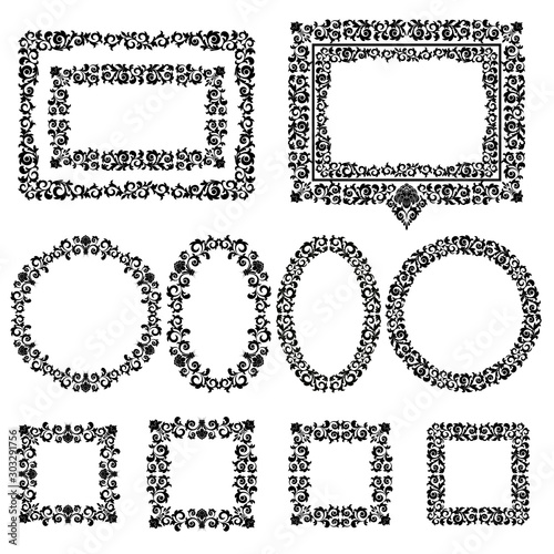 Set of floral frames on a white background. #303291756