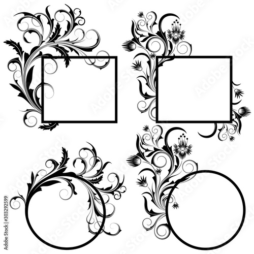 Set of floral frames on a white background. #303292599
