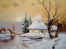 Oil Paintings Winter Landscape, Old Village In Ukraine. Fine Art, Artwork, Old Wooden House