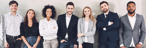 Fotografie, Obraz Diverse business team smiling to camera in office