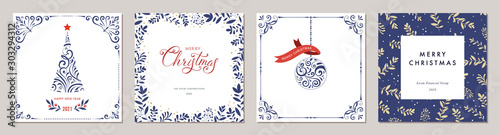 Obraz Ornate Merry Christmas greeting cards. Trendy square Winter Holidays art templates. - fototapety do salonu