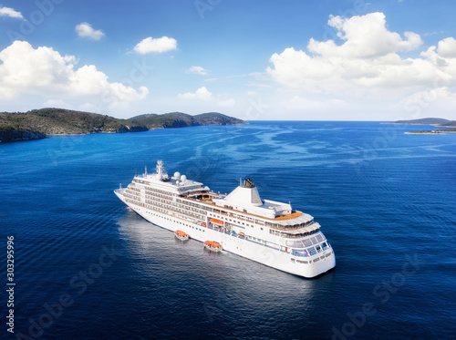 Obraz Croatia. Aerial view at the cruise ship at the day time. Adventure and travel.  Landscape with cruise liner on Adriatic sea. Luxury cruise. Travel - image - fototapety do salonu