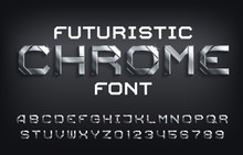 Futuristic Chrome Alphabet Fon...