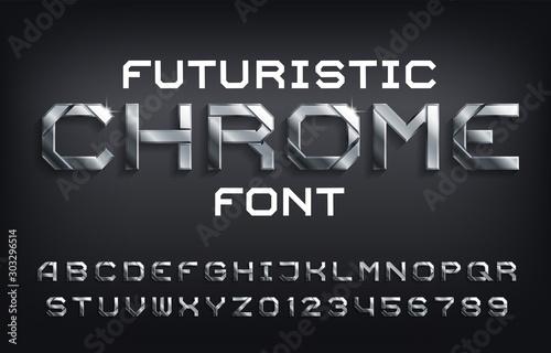 Fotografia, Obraz Futuristic Chrome alphabet font