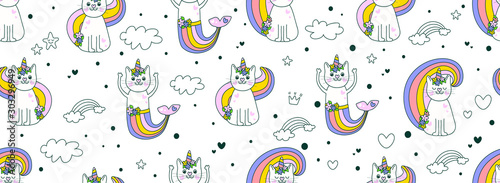 Cute hand drawing seamless pattern background kitty cat Cute Unicorn vector Icons on sweet mint pastel. Cute hipster pattern for children's cloth with unicorn cats