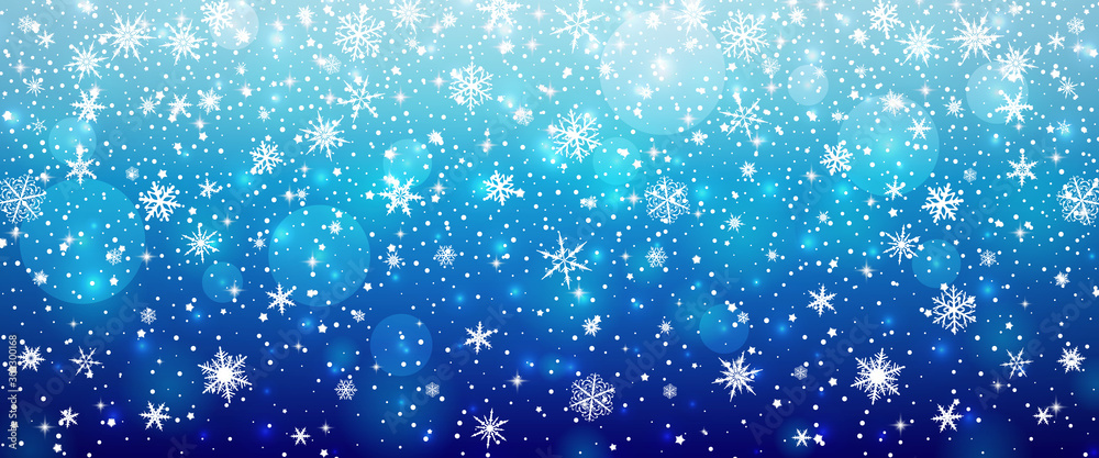 Fototapeta Abstract winter background with snowflakes vector