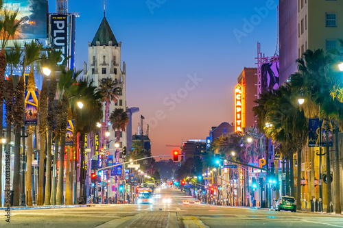 Fototapeta View of world famous Hollywood Boulevard district in Los Angeles, California, US