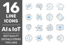 AI, IIot, Iot, Cloud Computing, Cognitive Computing Industry 4.0 Icons Set. Cyber Physical Systems Concept Of Industry 4.0 And AI. Editable Stroke. EPS 10