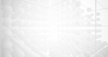 Abstract white architectural interior from an array of spheres with large windows. 3D illustration and rendering.