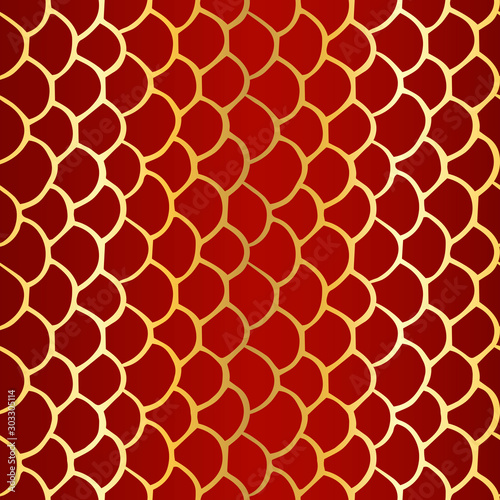 Seamless simple texture with hand drawn abstract golden scale on dark red background; Vector endless doodle pattern with curves for decor, fabric print, gift wrap, invitations and wrapping paper - 303305114