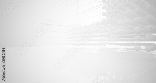 Obraz Abstract white architectural interior from an array of spheres with large windows. 3D illustration and rendering. - fototapety do salonu