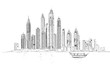 Illustration of the Dubai skyline: Skyscrapers of Marina and tourist boat