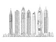 Illustration of the Dubai skyline: Skyscrapers of the Dubai Marina Sketch collection