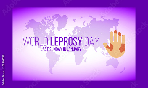 Stampa su Tela Vector illustration on the theme of World Leprosy Day in January