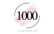 Number 1000 Watercolor Stroke ...