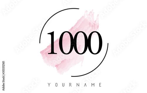 Canvastavla Number 1000 Watercolor Stroke Logo Design with Circular Brush Pattern