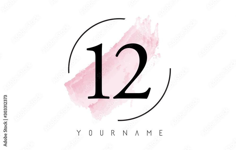 Number 12 Watercolor Stroke Logo Design with Circular Brush Pattern. <span>plik: #303312373   autor: ankreative</span>