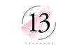 Number 13 Watercolor Stroke Logo Design with Circular Brush Pattern.