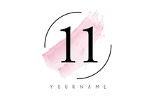 Number 11 Watercolor Stroke Lo...
