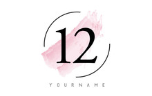 Number 12 Watercolor Stroke Logo Design With Circular Brush Pattern.