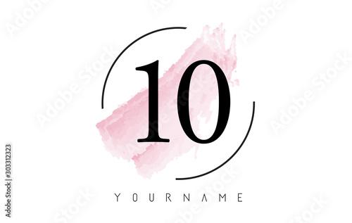 Photo Number 10 Watercolor Stroke Logo Design with Circular Brush Pattern