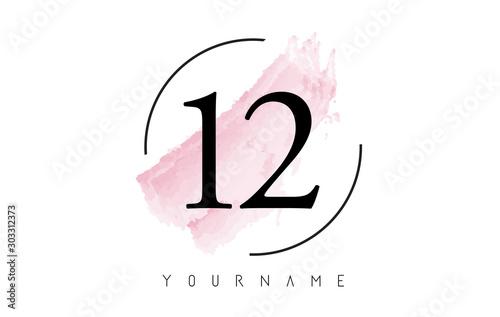 Fotografia  Number 12 Watercolor Stroke Logo Design with Circular Brush Pattern
