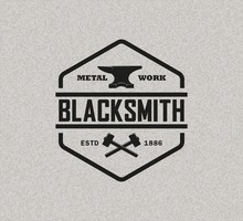 Color Illustration Of A Blacksmith Logo On A Background With Texture. Vector Illustration Of Anvil Hammer And Text On Background With Texture. Professional Metal Work