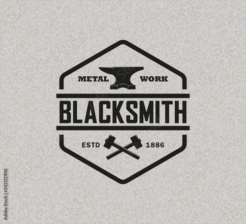 Color illustration of a blacksmith logo on a background with texture Wallpaper Mural