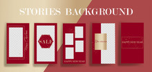 Stories Frame Templates. Vector Background. Mockup For Social Media Banner. Red And Gold Instagram Abstract Collage Layout Design.