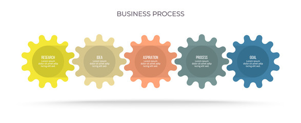 Business infographic. Process chart with 5 options, gears, steps. Vector template.