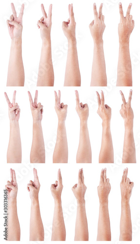 Fototapety, obrazy: Group of Male asian hand gestures isolated over the white background. Two fingers Action. Victory Pose.