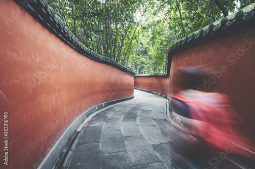 Motion blurred tourist walks through red walls passage surrounded by bamboo forest, color toning applied, Chengdu, China Canvas Print