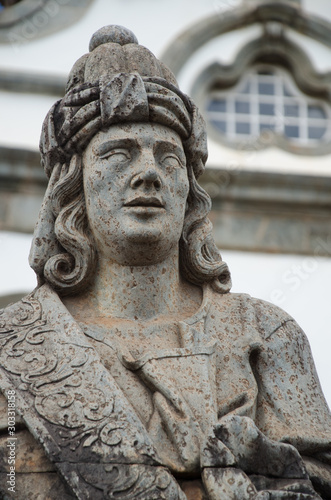 Photo Prophet Baruc sculpture made by Aleijadinho in Santuário do Bom Jesus de Matosinhos