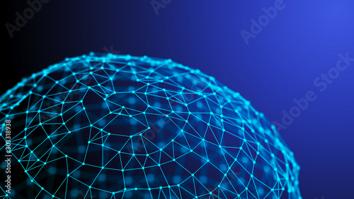 Obraz Global network connection. World map points and lines composition. 3D rendering. - fototapety do salonu