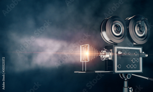 Professional camera on dark wallpaper Wallpaper Mural