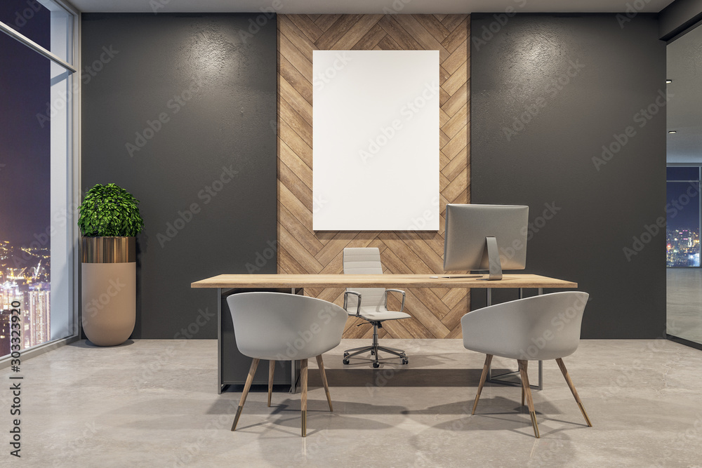 Fototapeta Modern office interior with billboard - obraz na płótnie