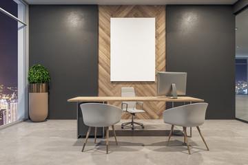 Modern office interior with billboard