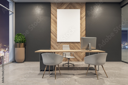 Obraz Modern office interior with billboard - fototapety do salonu