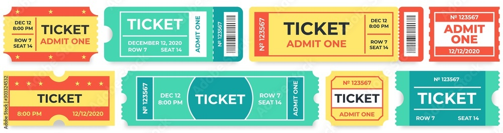 Fototapety, obrazy: Admit one tickets. Circus entries coupon, retro cinema ticket and movie entrance coupons. Carnival festival invitation tickets, baseball admit coupon. Isolated vector icons set