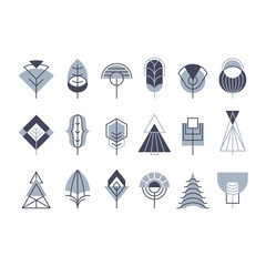Graphical tree set, line and geometrical blocks icons.