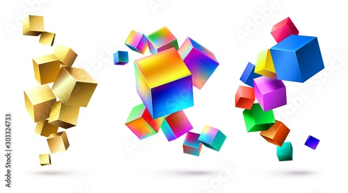 Abstract cubes compositions Tableau sur Toile