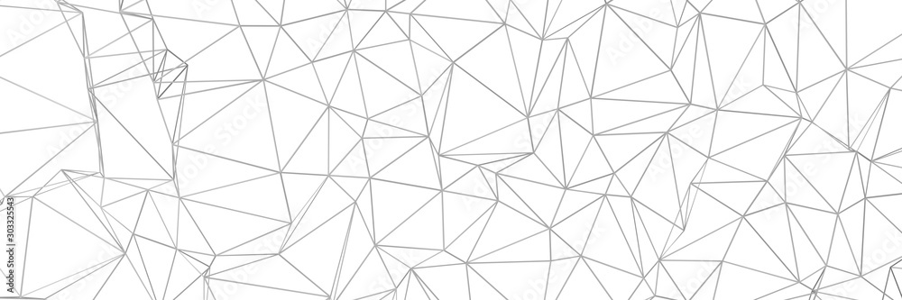 3d ILLUSTRATION, of white abstract crystal background, triangular texture, wide panoramic for wallpaper, 3d futuristic white background low poly design