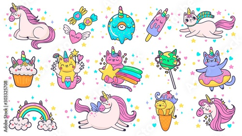 Cute hand drawn patches. Magic fairytale pony unicorn, fabulous cat and sweet candy stickers. Ice cream patch sticker or kitty doodle badges. Cartoon isolated vector illustration symbols set