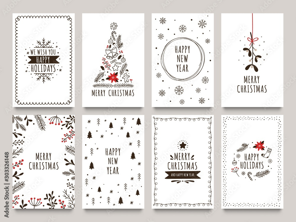 Fototapeta Hand drawn winter holidays cards. Merry Christmas card with floral ornaments, New Year tree and snowflakes frame. 2020 Xmas greeting or invitation inspire quote cards. Isolated vector icons set